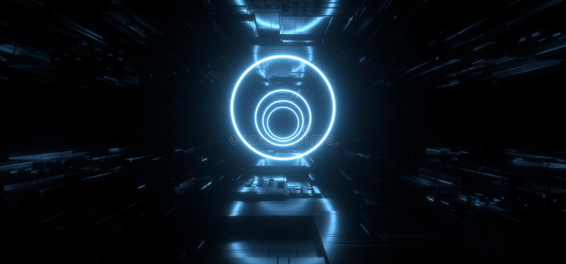 外籍人太空飞船霓虹未来派科学幻想小说激光圈子塑造概要主板芯片详述构造反射性金属黑暗空 库存例证