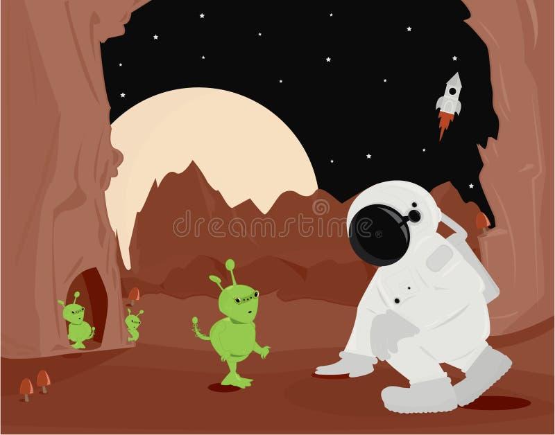 外籍人宇航员行星表面 皇族释放例证