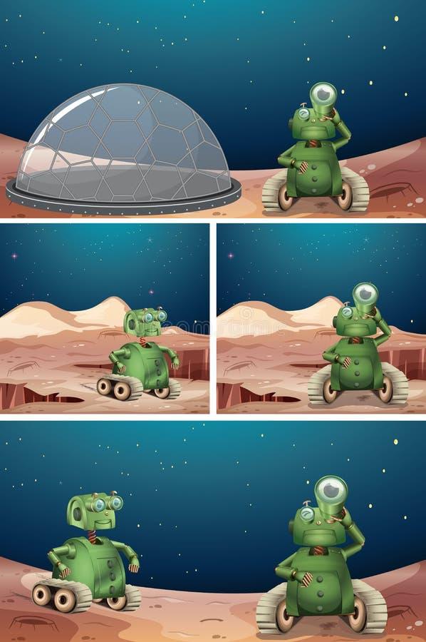 外籍人机器人空间场面 库存例证