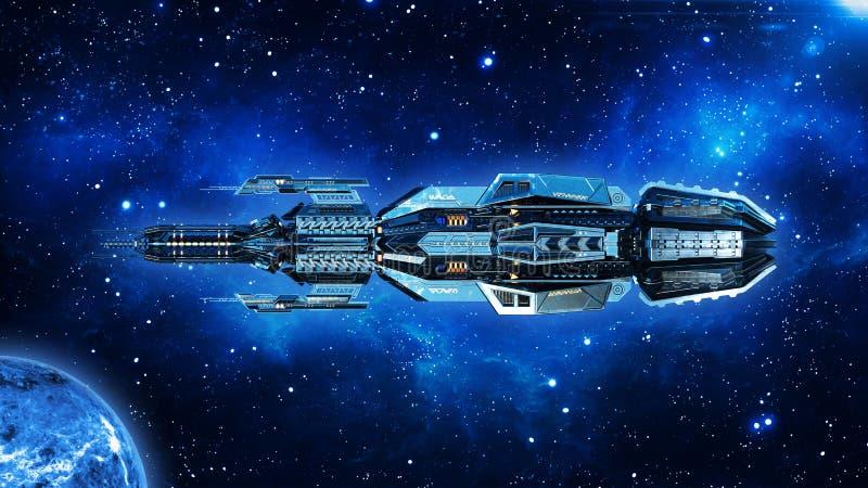 外籍人母舰,在外层空间,飞碟航天器飞行在宇宙与行星和星,侧视图, 3D的太空飞船回报 免版税图库摄影