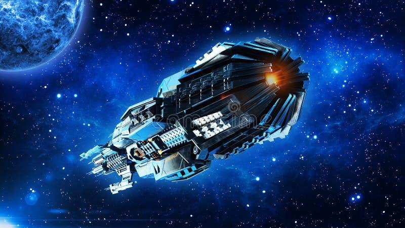 外籍人母舰,在外层空间,飞碟航天器飞行在宇宙与行星和星,后方底视图, 3D的太空飞船回报 皇族释放例证