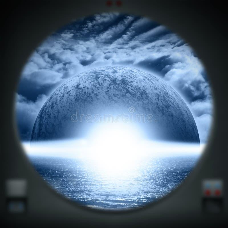外籍人水行星如被看见从太空飞船窗口 皇族释放例证