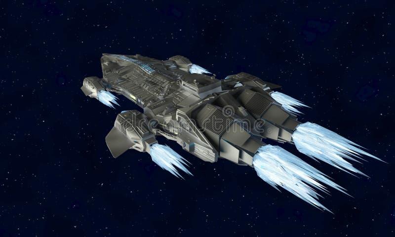 外籍人航天器科幻3d翻译的太空飞船航空器  皇族释放例证
