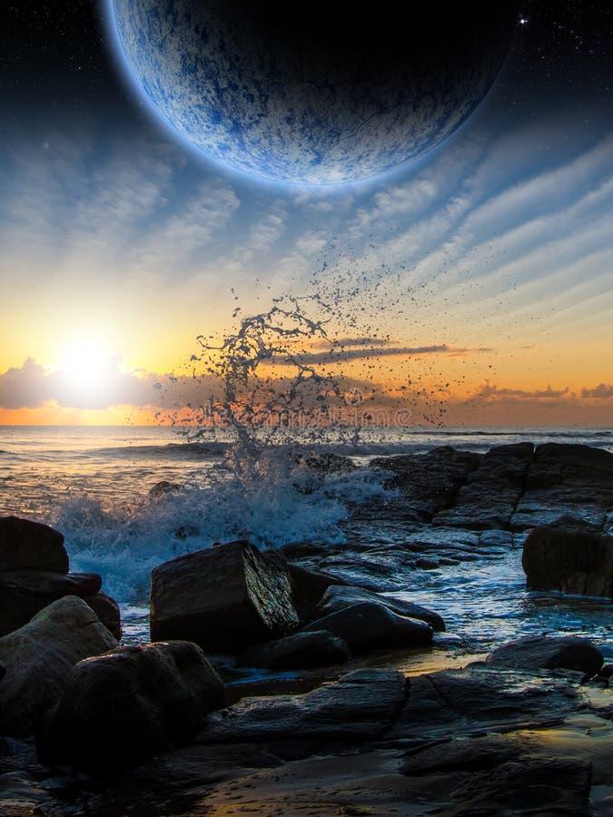 外籍人行星科学幻想小说场面 艺术家的翻译 皇族释放例证