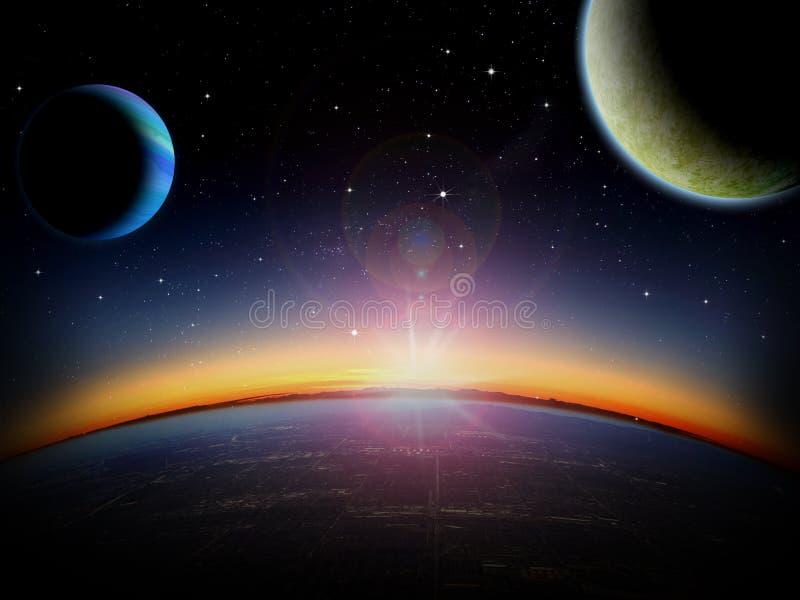 外籍人行星幻想空间场面 向量例证