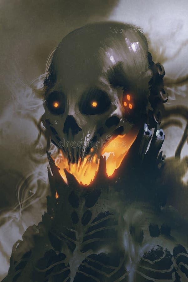 外籍人头骨科学幻想小说字符在黑暗的背景的 库存例证