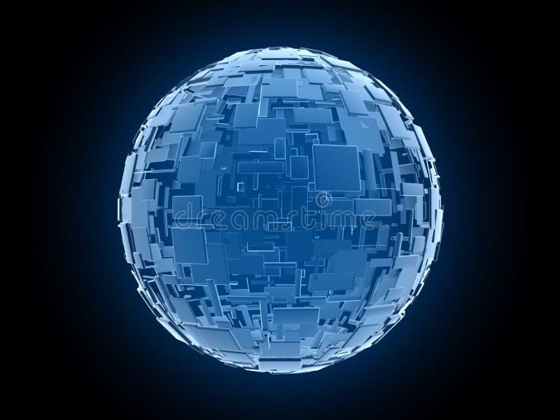 外籍人arrangemen蓝色全球多维数据集的幻想 皇族释放例证