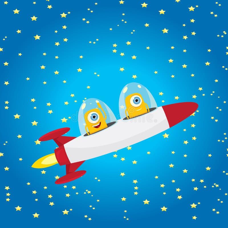 外籍太空飞船 空间向量的橙色外籍人 库存例证