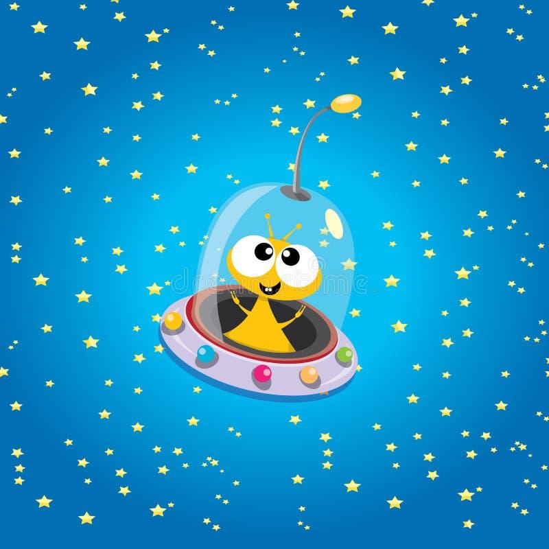外籍太空飞船 空间向量的橙色外籍人 向量例证