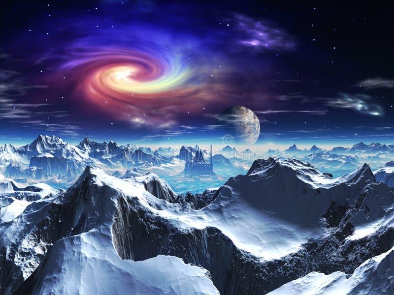 外籍未来派冰行星寺庙谷 向量例证