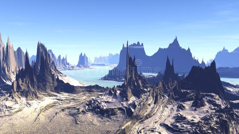 外籍行星 山和水 3d翻译 向量例证