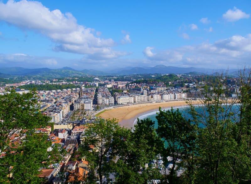 外耳海湾和海滩全景  圣塞巴斯蒂安 Monte的Urgull西班牙 免版税库存照片