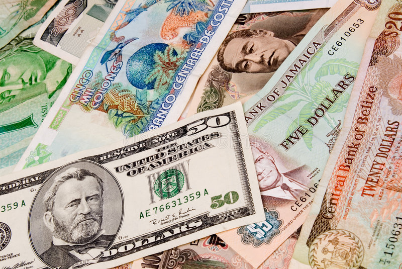 外部的帐单币种 库存图片