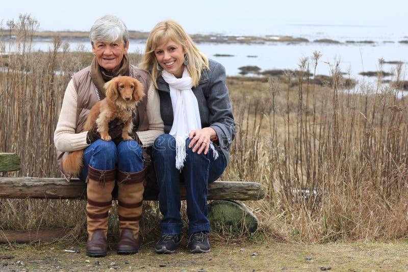 外面妇女和狗 免版税库存图片