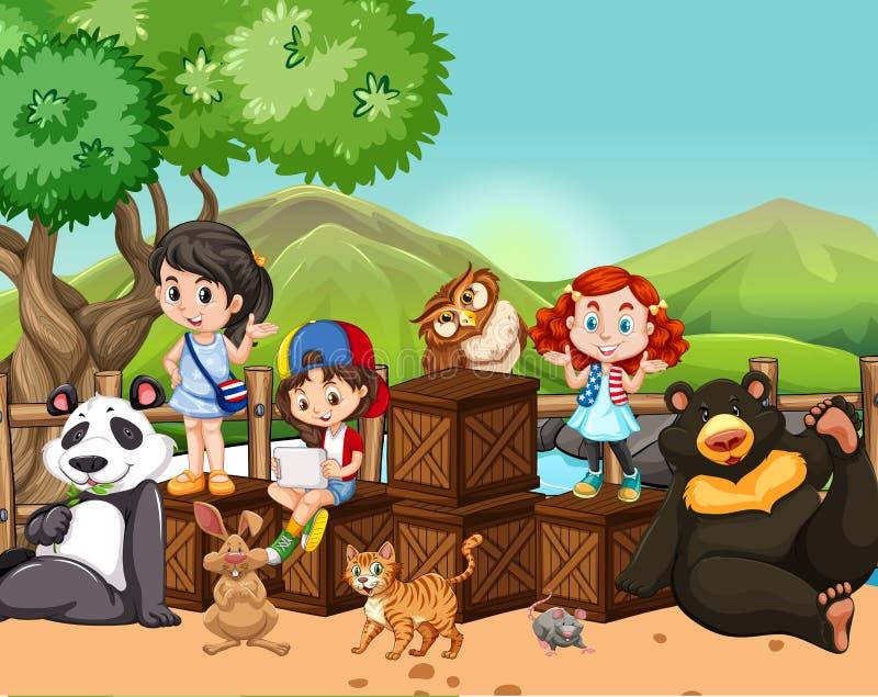 外面孩子和野生动物 向量例证