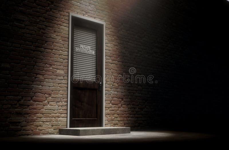 外面私家侦探门 向量例证