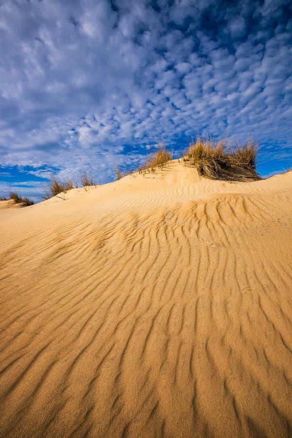 外面银行,沙丘,卷积云 库存照片