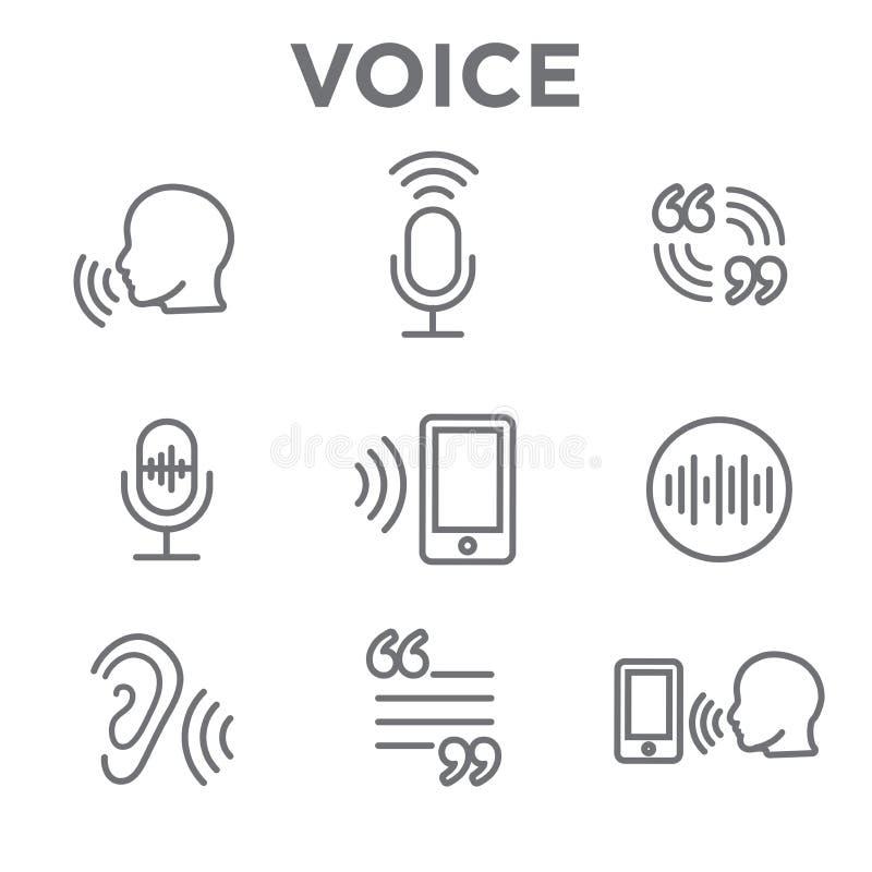 画外音或声音与声波图象的命令象 向量例证