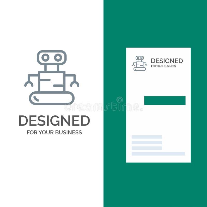 外骨骼、机器人、空间灰色商标设计和名片模板 向量例证