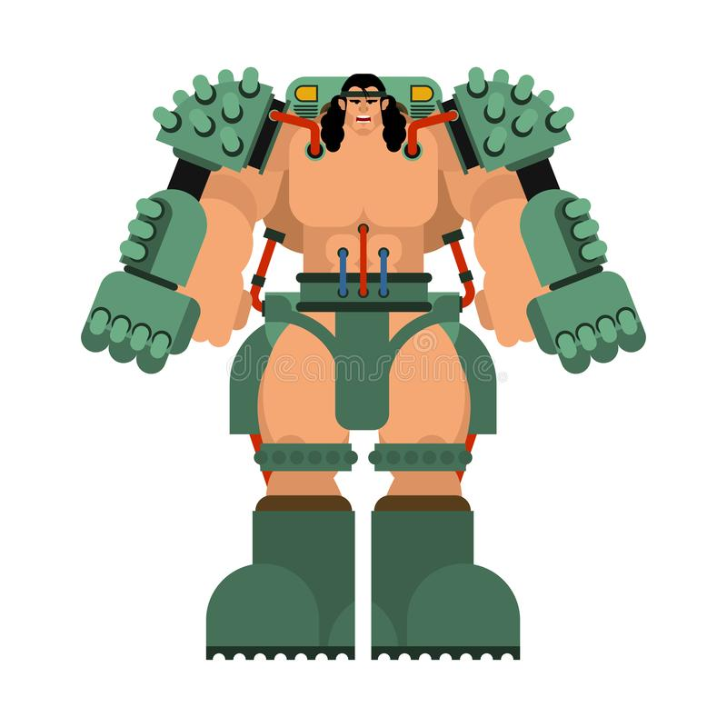 外骨骼机械技术机器人骨骼 铁衣服机器人 金属衣物靠机械装置维持生命的人 也corel凹道例证向量 库存例证