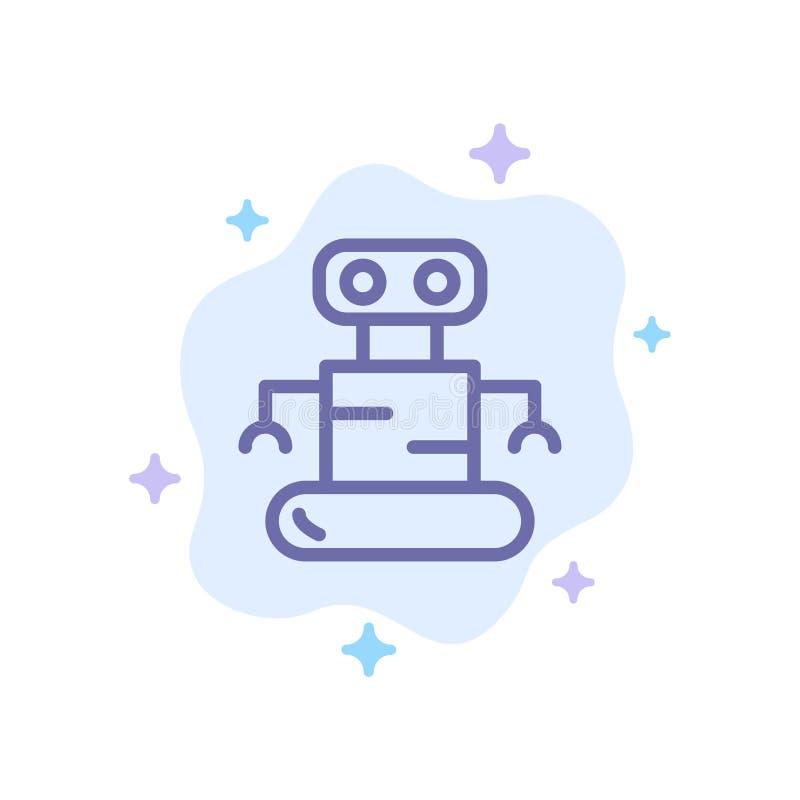 外骨骼,机器人,在抽象云彩背景的空间蓝色象 库存例证