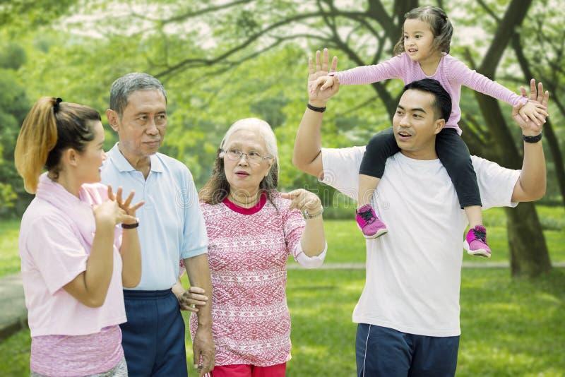 多一代家庭在公园一起走 库存照片