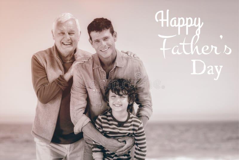 多世代家庭与愉快的父亲节 图库摄影