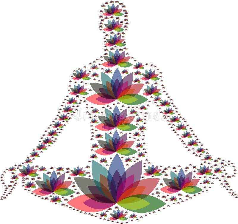 多个颜色花禅宗庭院瑜伽商标 库存例证