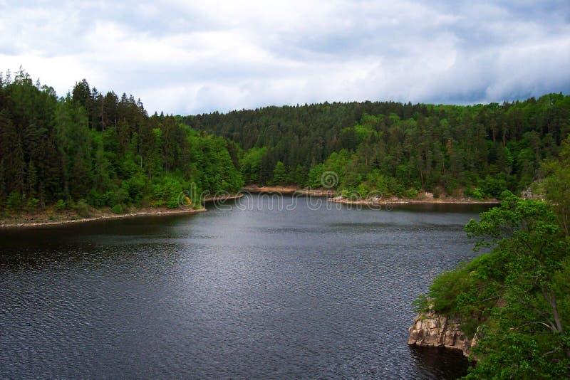 多云天气和湖和森林场面观看照片 库存图片
