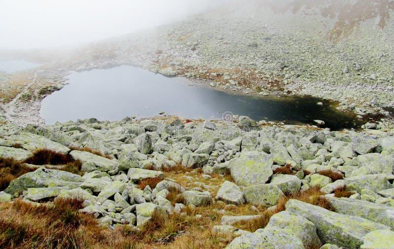 多云天气的Mountain湖 库存图片