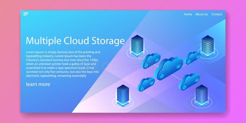 多云存储技术、服务器网络大型机等轴概念 Web模板设计 矢量图 向量例证