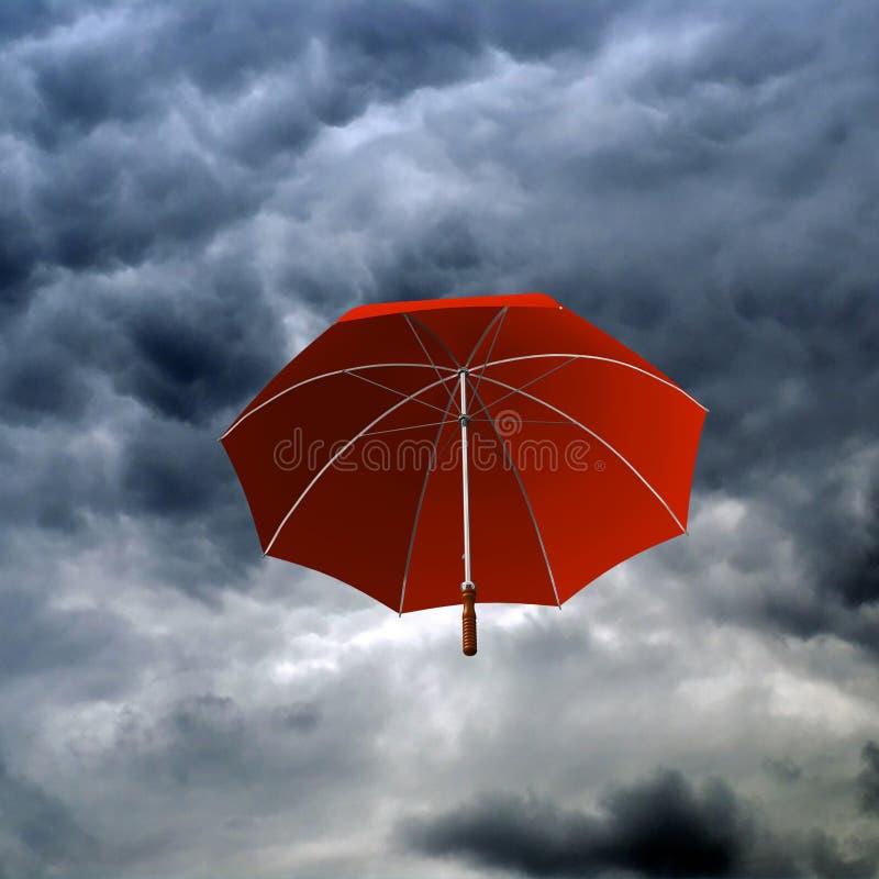 多云日红色伞 向量例证