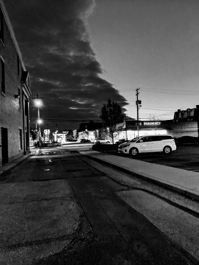 多云晚上在匹兹堡 库存照片