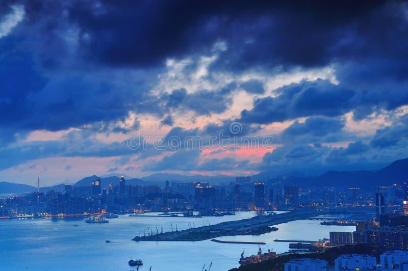 多云的日落 图库摄影