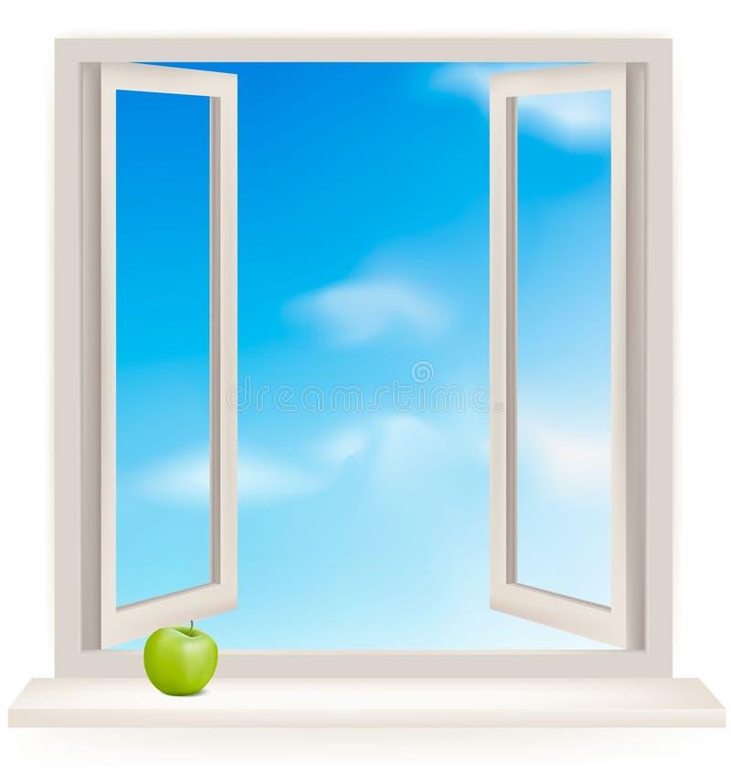 多云露天墙壁视窗 向量例证