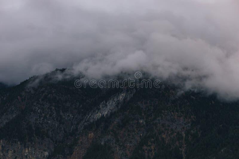 多云黑暗的小山包围与雾 库存图片