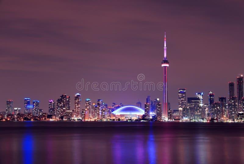 多伦多地平线在晚上,安大略,加拿大 免版税图库摄影