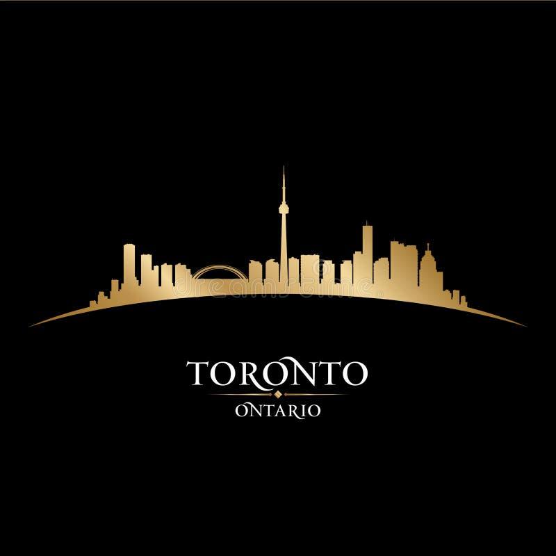 多伦多安大略加拿大市地平线剪影黑色背景 向量例证