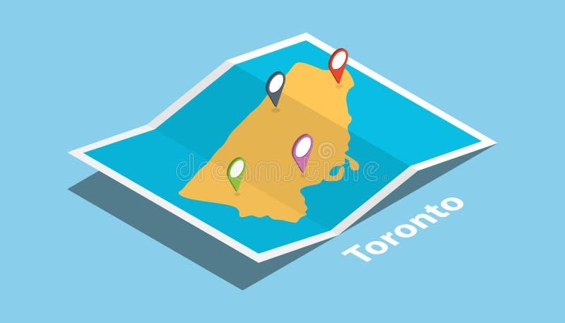 多伦多安大略省探索与等量样式和别针地点标记的地图在上面 向量例证