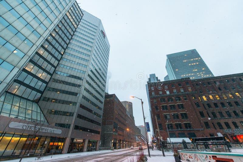 多伦多市中心在多雪的冬天 免版税库存照片
