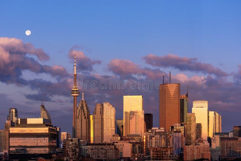 多伦多市中心地平线清早不可思议的小时 免版税库存图片