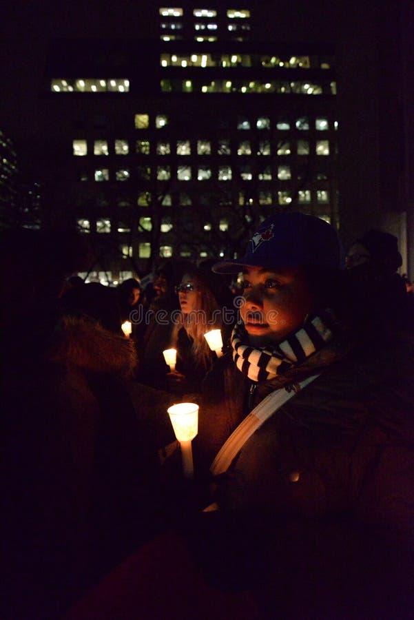 多伦多的黑人公共福格逊抗议者团结采取行动 免版税图库摄影