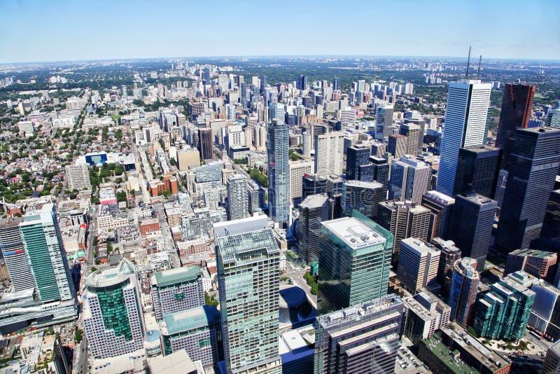 多伦多街市鸟瞰图在夏天 免版税库存图片
