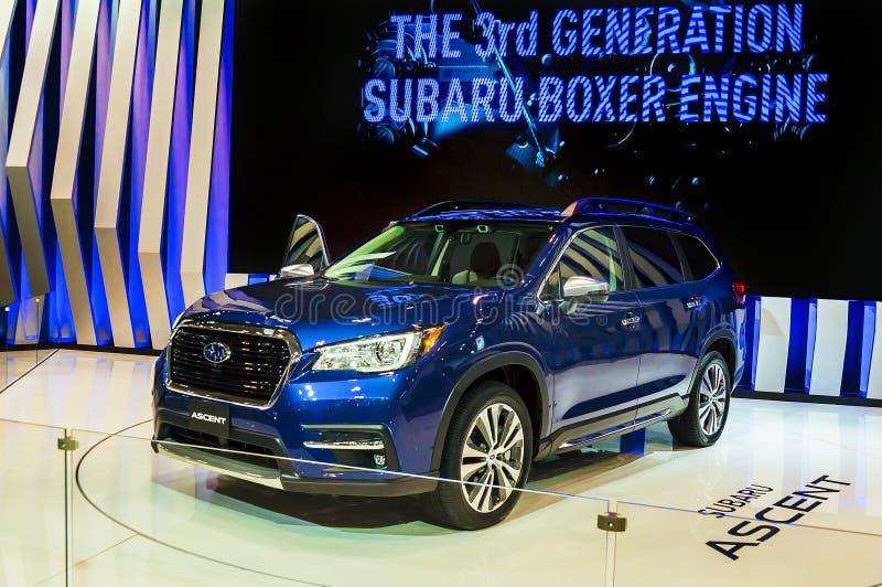多伦多,加拿大- 2018-02-19 :2019年Subaru在2018加拿大人的Subaru Corporation博览会显示的上升概念 免版税图库摄影