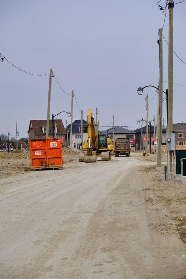 多伦多,安大略,加拿大- 2019年4月7日-新的家庭建筑在加拿大的大城市 在北pa的不动产发展 库存图片