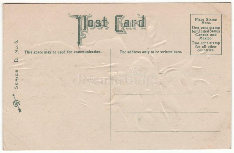 维多利亚女王时代1910年明信片后面绿色字体 免版税图库摄影