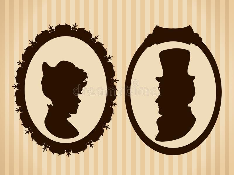 维多利亚女王时代的夫妇葡萄酒剪影 免版税图库摄影
