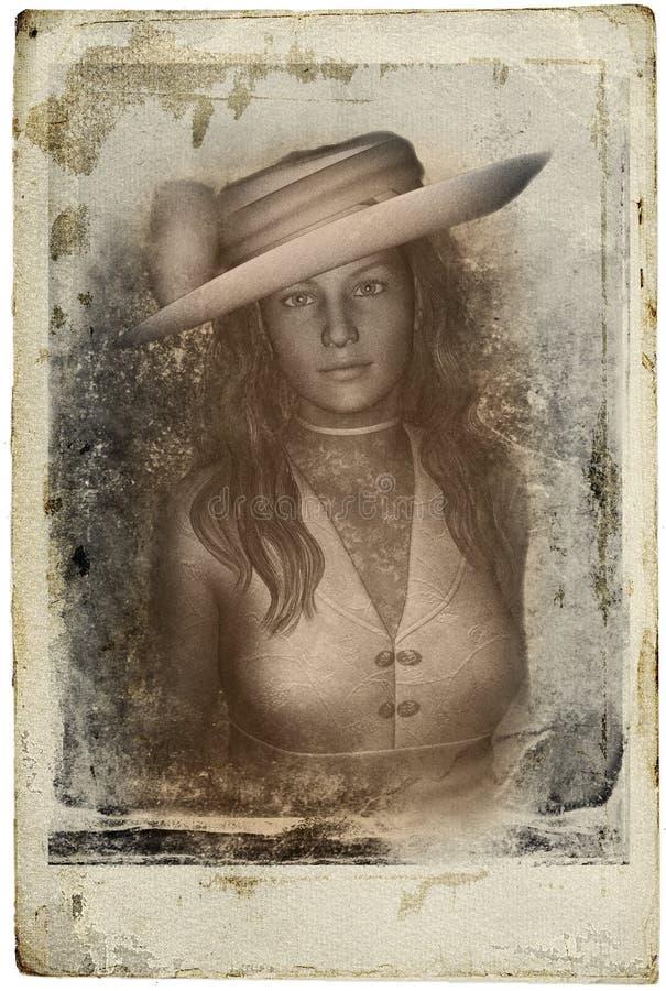 维多利亚女王时代的妇女葡萄酒照片 库存例证