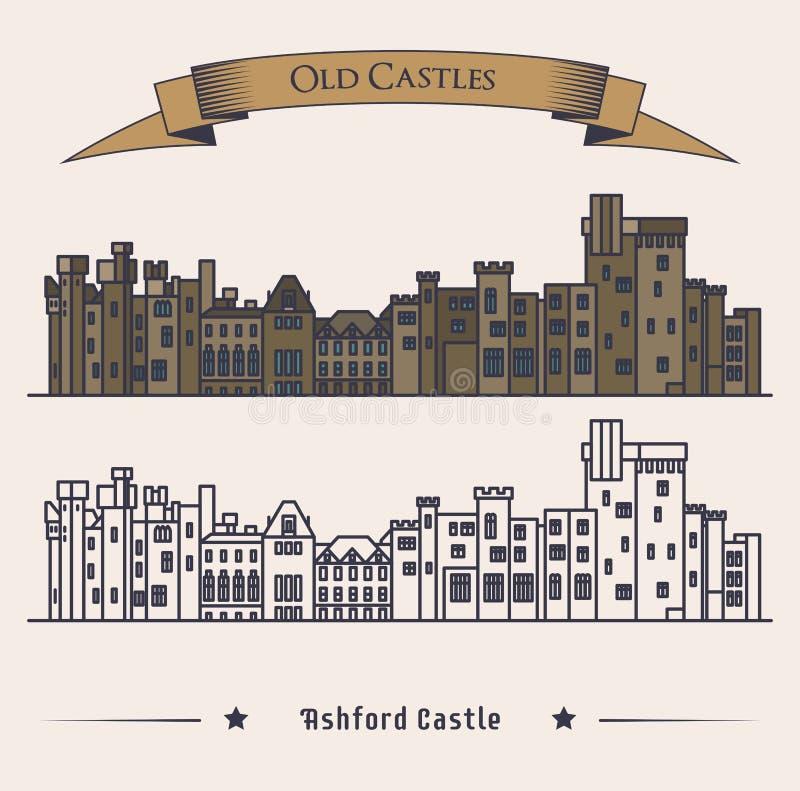 维多利亚女王时代的爱尔兰城堡外视图 豪华旅馆或地标,减速火箭或者老建筑学外视图,葡萄酒 向量例证