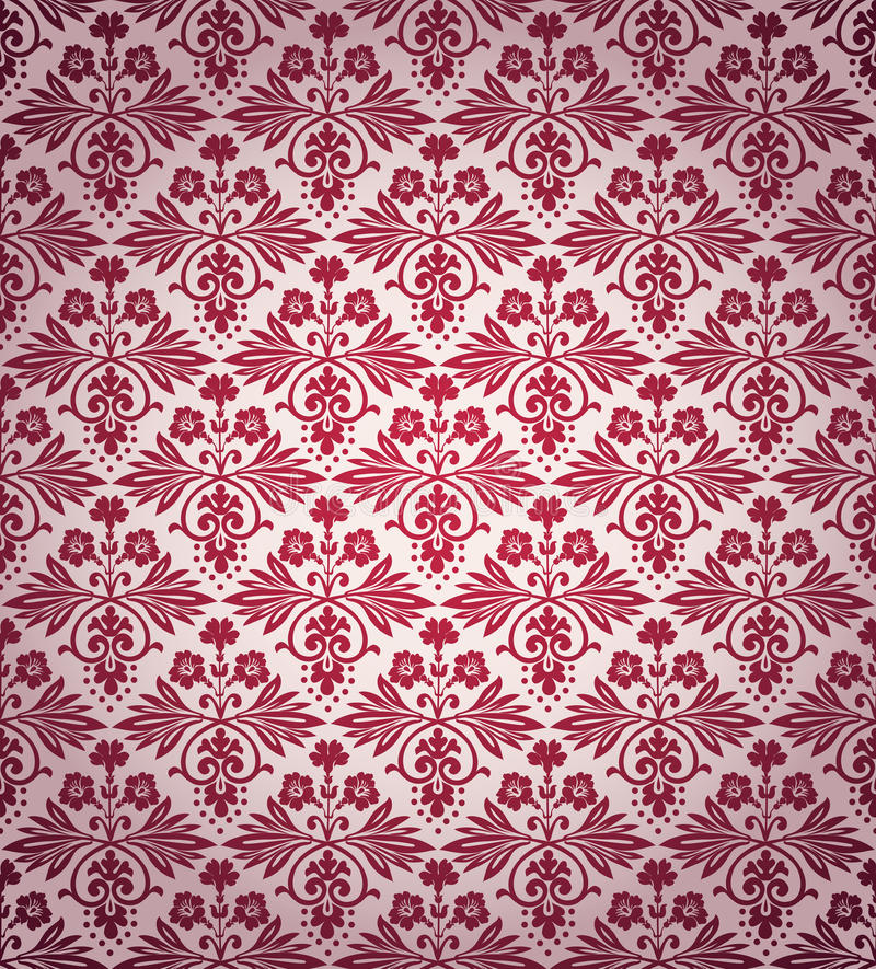 维多利亚女王时代的葡萄酒开花无缝的墙纸样式 库存例证